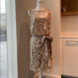 Beige Lace Lined Dress - Size 12